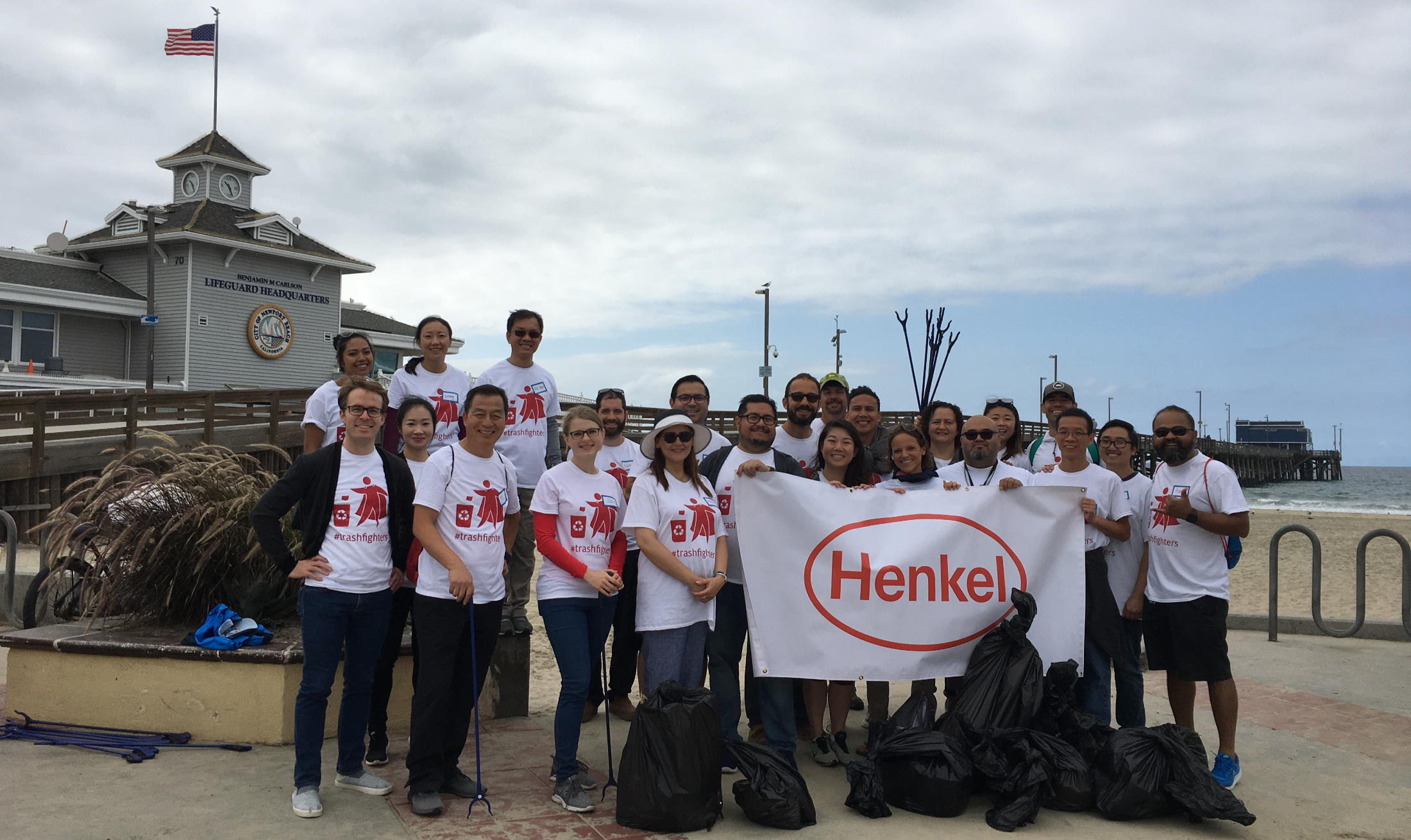 Employees in Irvine, CA collected trash and inspired beachgoers to join in the effort along a one-mile stretch at Newport Beach.