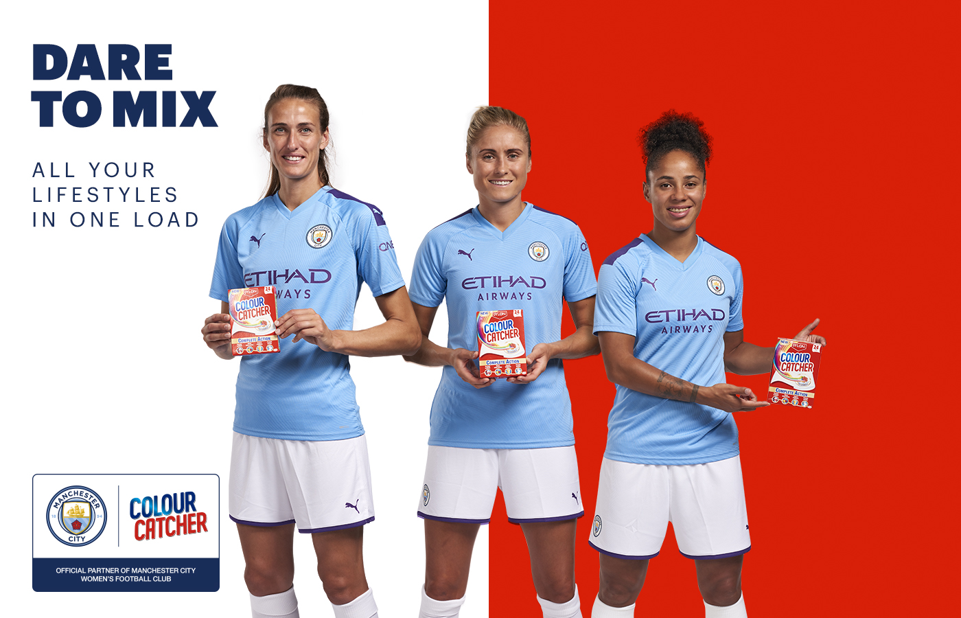 Manchester City players Steph Houghton, Demi Stokes and Jill Scott