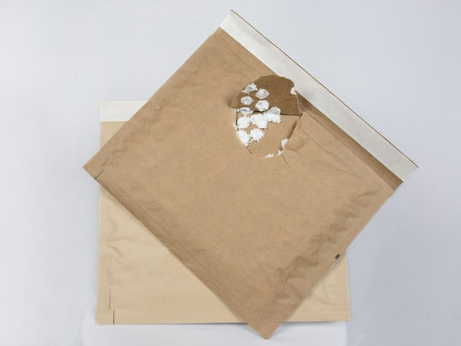 envelope torn open to reveal padding