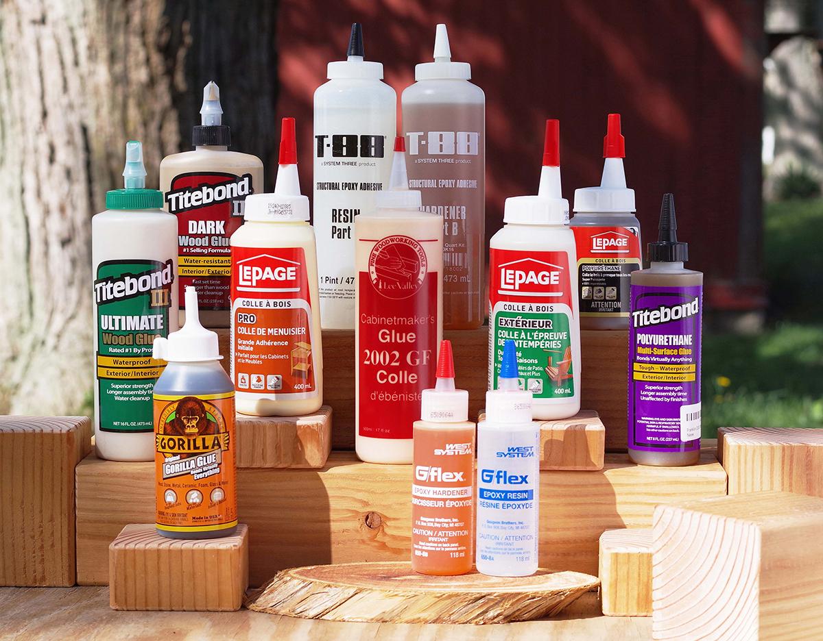 an assortment of wood glues