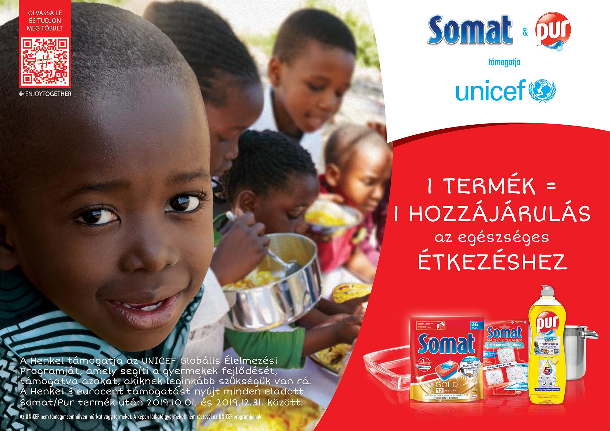 A Somat és a Pur is támogatja az UNICEF Globális Élelmezési Programját: 1 termék = 1 egészséges étkezéshez való hozzájárulás