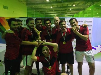 The winning Henkel team at the DUPLAYS Ramadan Football Cup 2014 Dubai