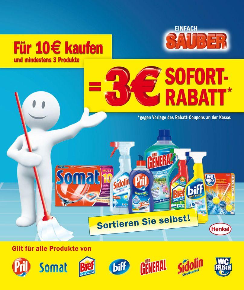 Ab dem 25. Februar können Verbraucher beim Kauf von mindestens drei Henkel-Produkten und einem Mindesteinkaufswert von zehn Euro drei Euro sparen
