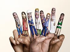"Campaign motif ""United in diversity"" – painted fingers"