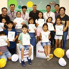 The participants of the School Project – a special sustainability class for employees' children at Korea office.