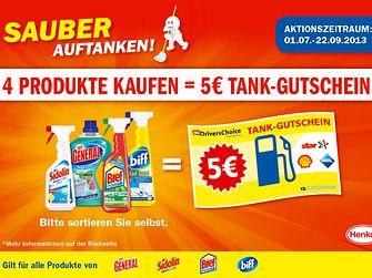 Passend zur Urlaubssaison erhalten Verbraucher beim Kauf von mindestens vier Produkten der Marken Sidolin, Der General, Bref und biff von Juli bis September einen Tank-Gutschein im Wert von fünf Euro.