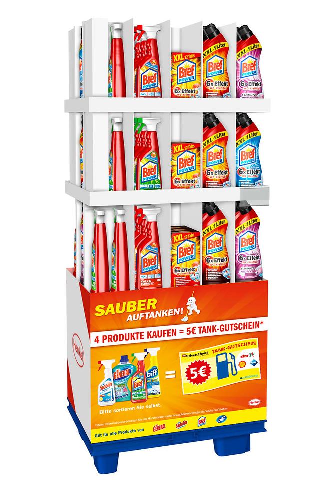 """Die vier starken Marken von Henkel sind mit all ihren Varianten an der """"Sauber Auftanken""""-Aktion beteiligt, so dass die Auswahl für die Verbraucher groß ist und einem gründlichen Hausputz nichts mehr im Weg steht."""