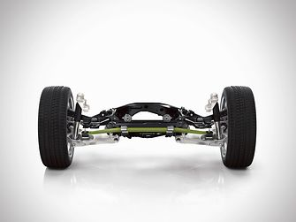 The rear axle of the new Volvo XC90 features a new transverse leaf spring, made of lightweight composite material.