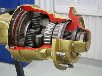 A view of the interior of an axle
