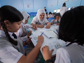 Children participate in a Henkel Ambassador workshop in the United Arab Emirates
