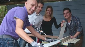 Employees from Henkel Benelux helped constructing a playground.