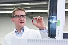 Laboratory Manager, Matthias Frischmann, engaged in specimen investigation