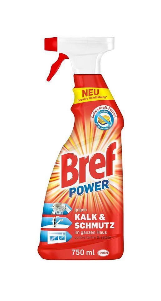 """Bref Power """"Kalk & Schmutz"""" und Bref Power """"Fett & Eingebranntes"""" sorgen mit der Sofort-Aktiv-Formel für schnelle und starke Reinigung im ganzen Haus – ganz ohne Schrubben. Seit Januar präsentieren sich die Kraftpakete im neuen, modernen Sleeve-Design"""