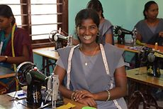 Seamstresses who attend the vocational school, like this student from Sri Lanka, are able to make a living for themselves.