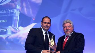 Mohamed Siam, Henkel's Regional Marketing Director in MENA (left) accepts the Advertiser of the Year Award