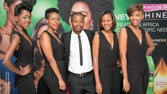 Joshua Ndala, from Schwarzkopf South Africa, (centre) with models