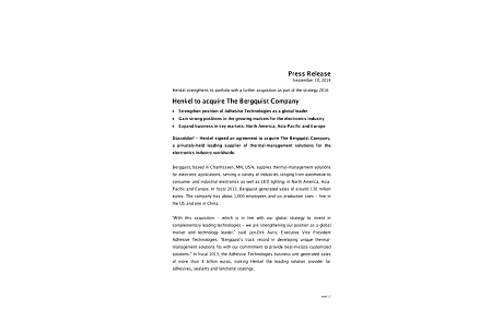 2014-09-18-Henkel to acquire The Bergquist Company.pdfPreviewImage