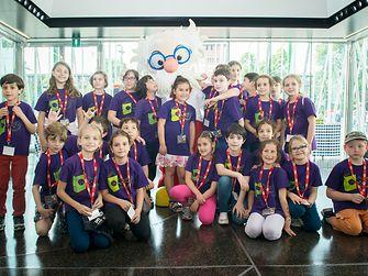 "Children from Sandro Pertini's school in Milan pose with ""Professor Dix"""
