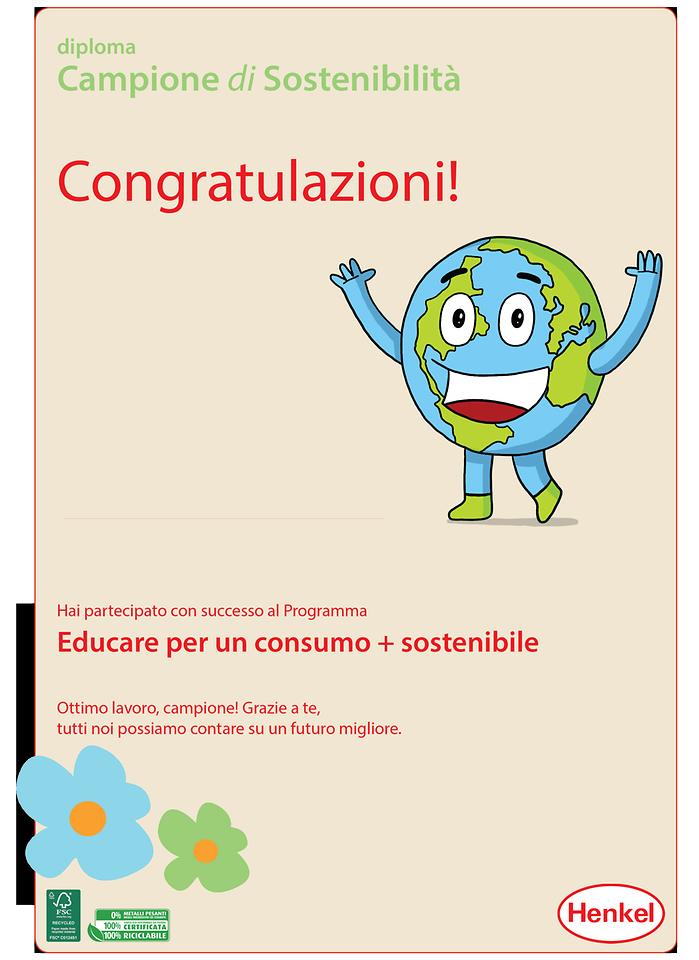 Il diploma di Campione della Sostenibilità che viene consegnato ai bambini