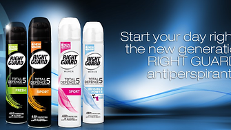 The Total Defence 5 line of Right Guard antiperspirant deodorants has been developed to fight the 5 signs of perspiration: odor, wetness, stickiness, bacteria and stains.
