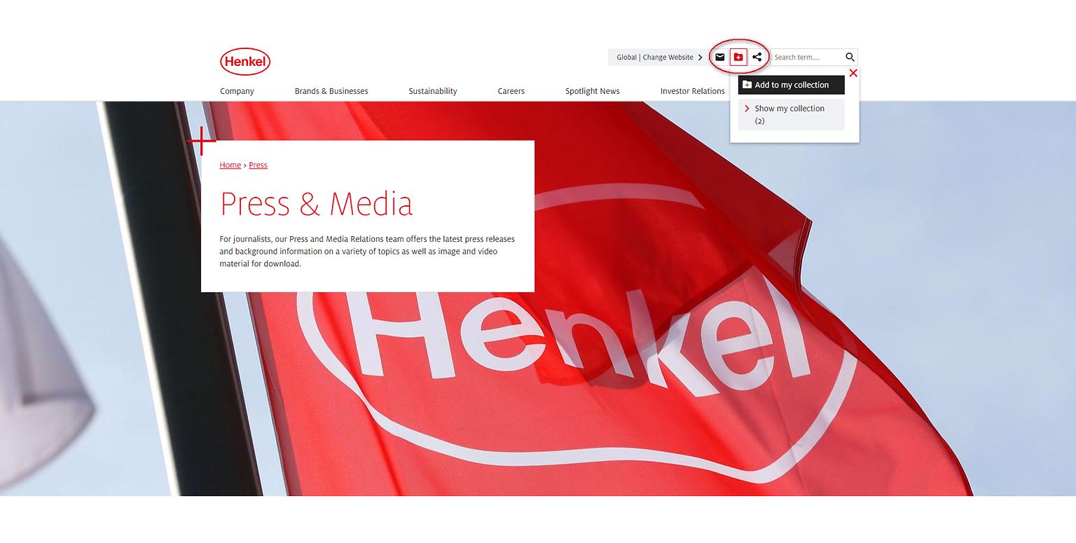 """När du besöker Henkels webbplats kan du använda ikonen """"Lägg till i Min samling"""" i sidhuvudet för att välja nyheter, pressmeddelanden och information om kapitalmarknader, varumärkesinformation eller jobbinformation som du vill lägga till på din Min samling-sida."""
