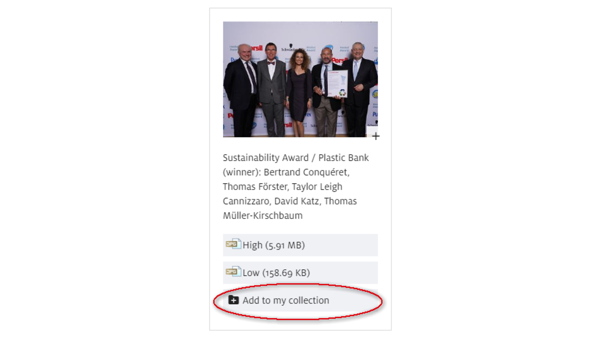 """Untuk menambahkan unduhan, gambar, video, dan kontak secara satu per satu ke dalam koleksi pribadi Anda, klik tombol """"Tambahkan ke Koleksi Saya"""" yang berada di halaman tersebut."""