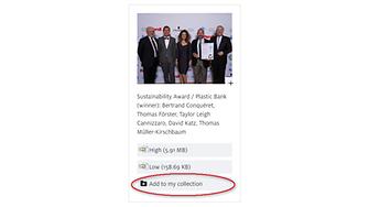 """Om du vill lägga till enstaka nedladdningar, bilder, filmer och kontakter till din personliga samling, klickar du direkt på knappen """"Lägg till i Min samling"""" för respektive post."""