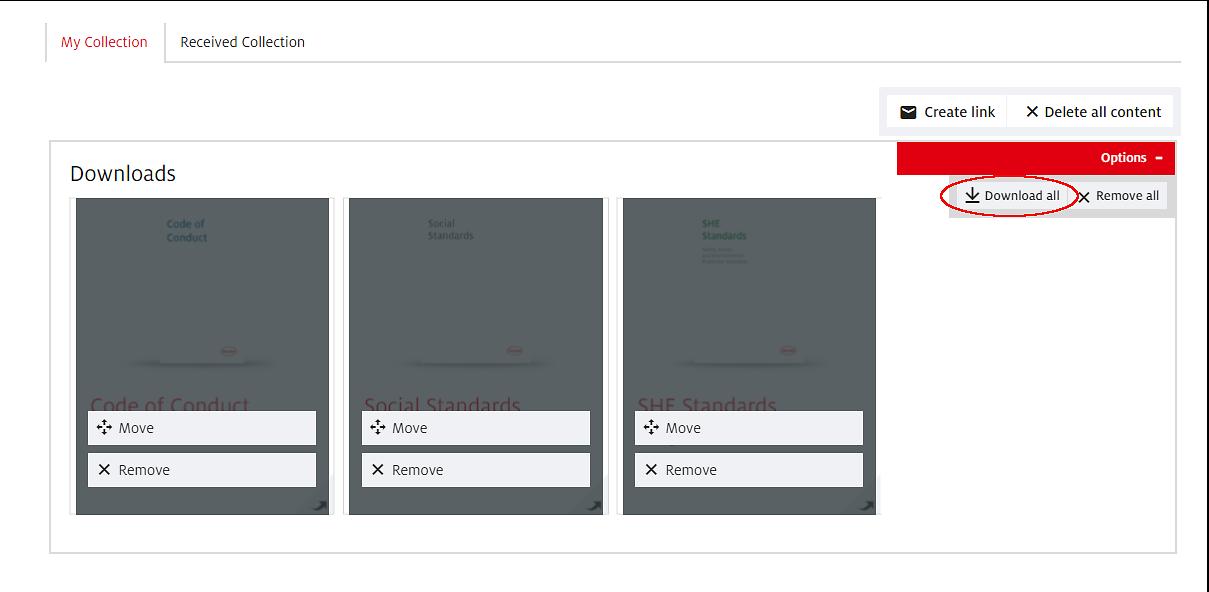 """Med knappen """"Ladda ner allt"""" kan du ladda ner alla poster/artiklar av samma innehållstyp med ett klick."""