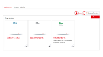 """Vill du dela din samling med affärspartners, kollegor eller vänner? Klicka på """"Skapa länk"""", så vidarebefordras sidan."""