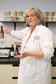 Patricia Liverance explains our caustic wash station
