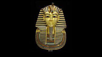 The restored golden mask of pharaoh Tut Ankh Amun