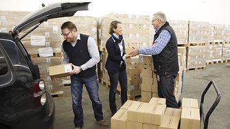Neben Sachspenden bietet Henkel durch eigene Lagerfläche auch logistische Unterstützung.