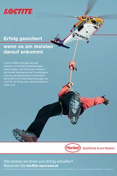 """""""Loctite – Erfolg gesichert"""" lautet das Motto der neuen internationalen Kommunikationskampagne. Printsujet wie dieses zeigen anhand von Beispielen, wie Loctite-Produkte und -Lösungen Unternehmen zu mehr Erfolg verhelfen."""
