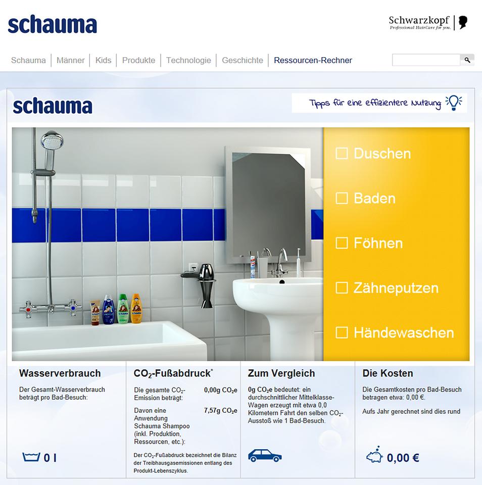 Con la calculadora de recursos interactiva Schauma, todo el mundo puede informarse sobre cómo el consumo de energía cambia mediante la regulación de diferentes temperaturas de agua y horas de ducha.