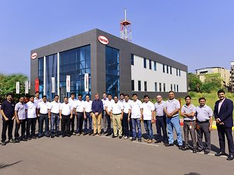 Participants of a training program with Henkel India officials at the entrance of the Flexible Packaging Academy