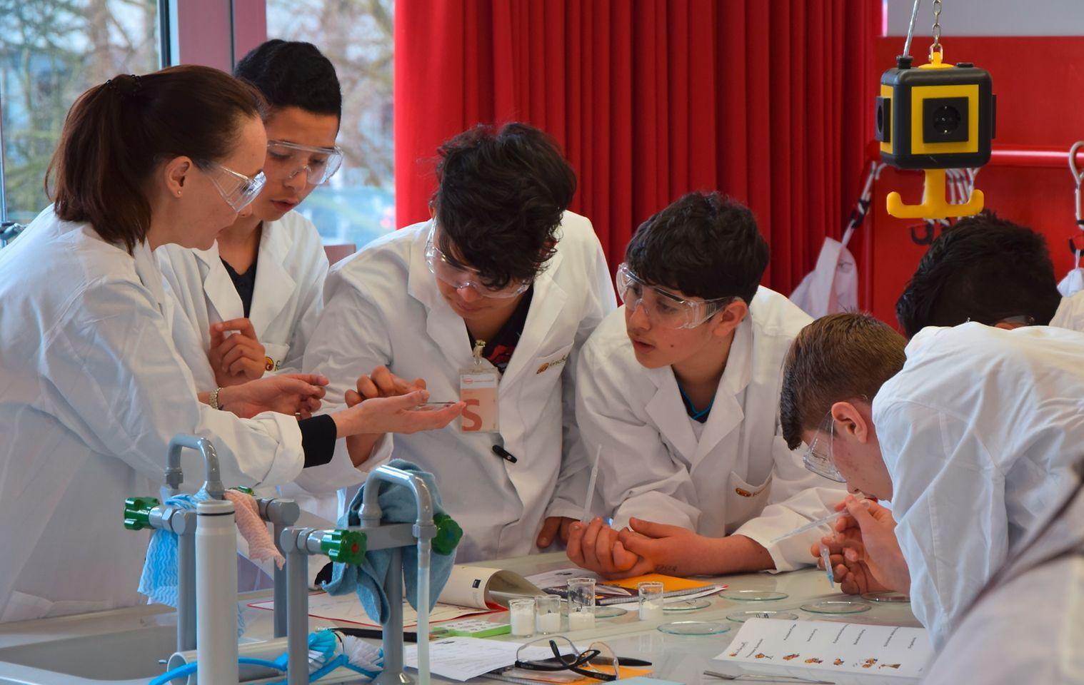 Junge Flüchtlinge machen bei Henkel in Düsseldorf ein Schnupperpraktikum