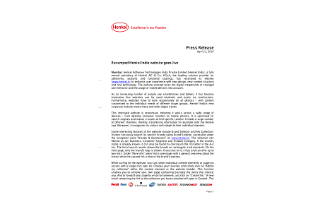 Press release - Henkel India's revamped website _April 2016 .pdf.pdfPreviewImage