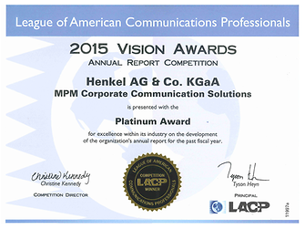 "2015 Vision Awards – Henkel was rewarded with ""Platinum"" for excellence within its industry in the development of its annual report."