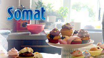 Somat verlost drei Cupcake-Sets und ein Jahrevorrat Somat 12 Gold.