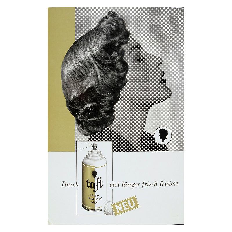 Первый лак для волос Taft, созданный эксклюзивно для парикмахерских, 1955 г.