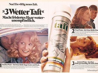Рекламный плакат линейки Taft «Три погоды», 1971 г.