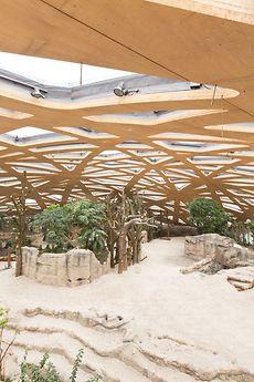 Die netzartige Freiform-Kuppel des Mitte 2014 eröffneten Elefantenhauses des Züricher Zoos in der Schweiz
