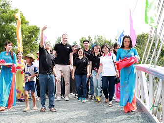 A team from Henkel Vietnam supported the building of a bridge for a local community in the An Giang Province