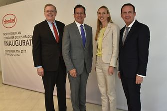 At the inauguration (from left): David R. Martin, Dannel Malloy, Dr. Simone Bagel-Trah, and Henkel CEO Hans Van Bylen