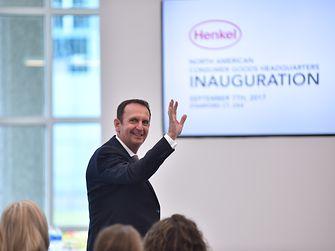 Henkel CEO Hans van Bylen waves at the crowd during Henkel's Inauguration event on September 7, 2017.