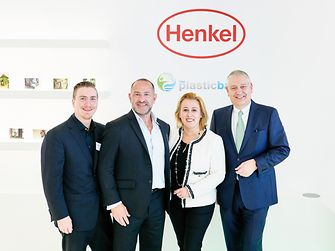 Henkel has become the first major global fast-moving consumer goods company to partner with the Plastic Bank. At the presentation of the partnership (from left): Shaun Frankson and David Katz, Founder of the Plastic Bank, Marie-Ève Schröder, Corporate Senior Vice President International Marketing in Henkel's Beauty Care business unit and Thomas Müller-Kirschbaum, Head of Global Research and Development in Henkel's Laundry & Home Care business unit.