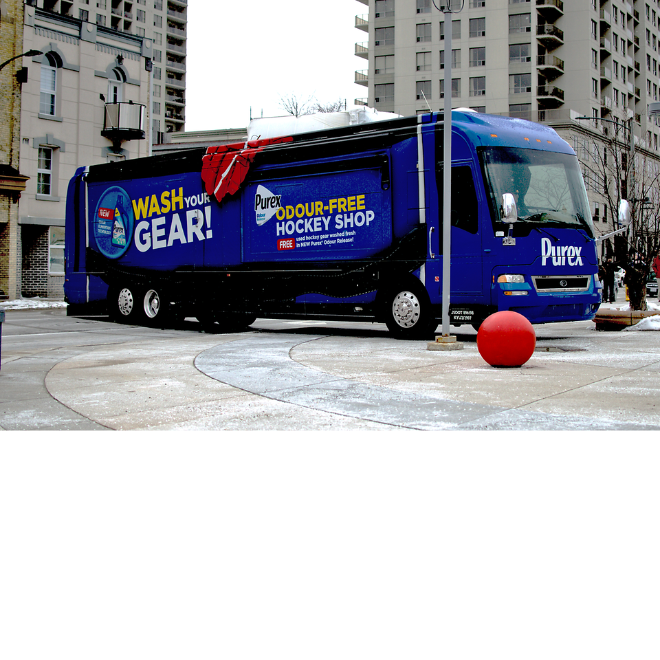 Henkel's mobile Purex Odour-Free Hockey Shop will be making 10 stops in eight Ontario cities in March and April 2018.