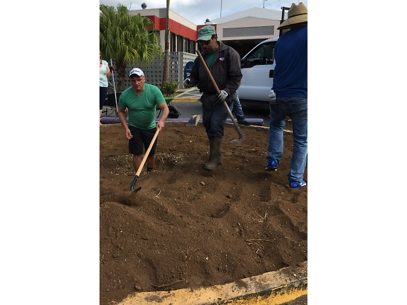 Several colleagues also helped with landscaping at the Sabana Grande medical facility.