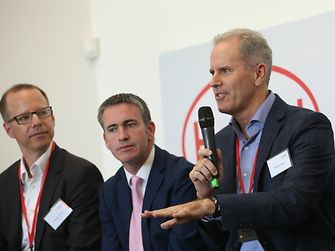 Stephen Nigro of HP during the panel discussion (to his right are Damien English, Government Minister, and Kersten Heuser of Siemens)