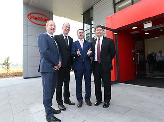 From left to right: Michael Lohan, IDA; Michael Todd, Henkel; Damien English, Government Minster; Jerry Perkins, Henkel